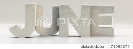 June calendar month - letters in metal, 3d render illustration 73090870