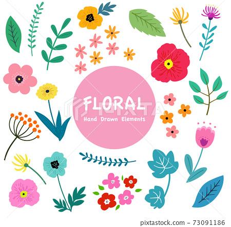 꽃과 나뭇잎의 일러스트 세트 봄의 식물에 의한 수공 맛 73091186