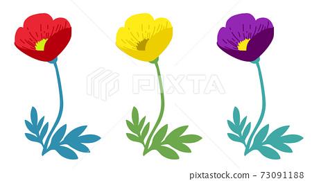봄 꽃 양귀비의 일러스트 변형 세트 73091188
