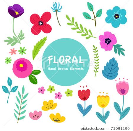 꽃과 나뭇잎의 일러스트 세트 봄의 식물에 의한 수공 맛 73091190