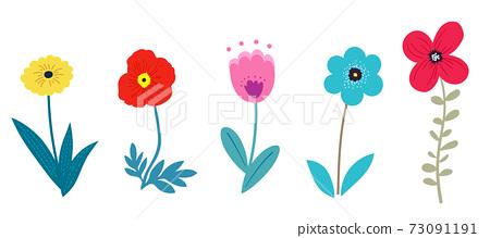 꽃과 나뭇잎의 일러스트 세트 봄의 식물에 의한 수공 맛 73091191