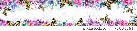 A long horizontal frame with butterflies. site header. Vector illustration 73091961