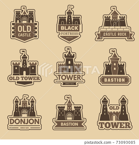 Castle logo. Medieval architectural castles with towers fort silhouettes vector monochrome logotype collection 73093085
