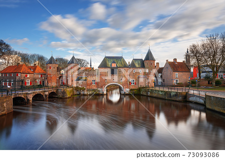 Amersfoort, Netherlands at the Koppelport at dawn. 73093086