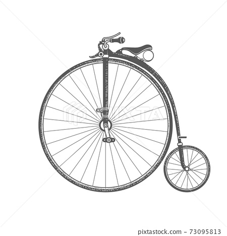 Penny-farthing, retro bicycle with large front wheel, vintage bike of 1870s 73095813