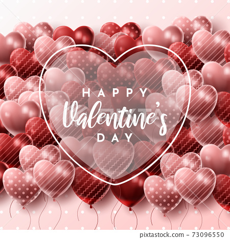 Happy Valentine's day background with heart balloon and present composition for banner, poster or greeting card. vector illustration 73096550