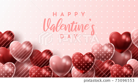 Happy Valentine's day background with heart balloon and present composition for banner, poster or greeting card. vector illustration 73096553