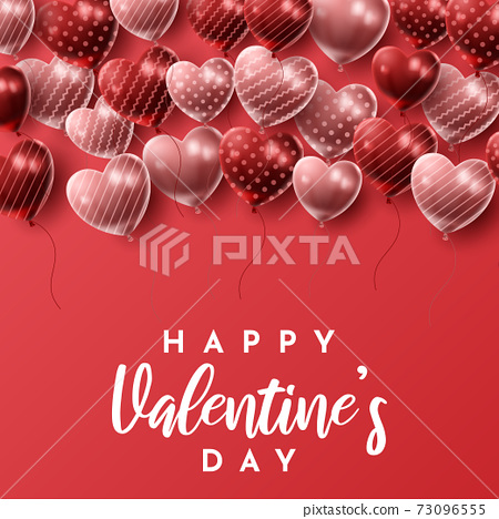 Happy Valentine's day background with heart balloon and present composition for banner, poster or greeting card. vector illustration 73096555