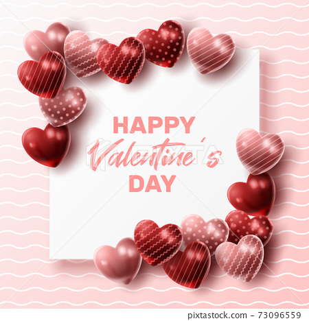 Happy Valentine's day background with heart balloon and present composition for banner, poster or greeting card. vector illustration 73096559