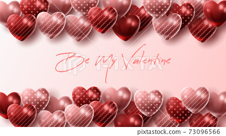 Happy Valentine's day background with heart balloon and present composition for banner, poster or greeting card. vector illustration 73096566