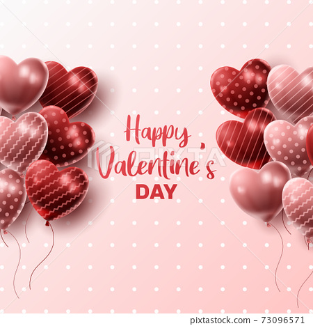 Happy Valentine's day background with heart balloon and present composition for banner, poster or greeting card. vector illustration 73096571