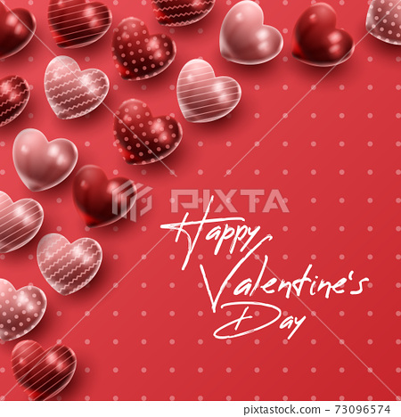 Happy Valentine's day background with heart balloon and present composition for banner, poster or greeting card. vector illustration 73096574