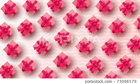 Happy Valentine's day background with heart balloon and present composition for banner, poster or greeting card. vector illustration 73096579