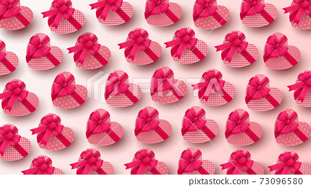 Happy Valentine's day background with heart balloon and present composition for banner, poster or greeting card. vector illustration 73096580