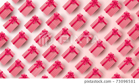 Happy Valentine's day background with heart balloon and present composition for banner, poster or greeting card. vector illustration 73096581