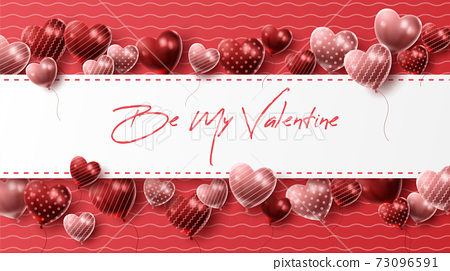 Happy Valentine's day background with heart balloon and present composition for banner, poster or greeting card. vector illustration 73096591