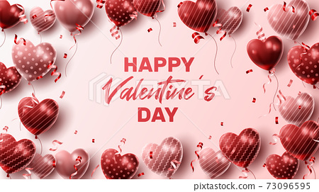 Happy Valentine's day background with heart balloon and present composition for banner, poster or greeting card. vector illustration 73096595