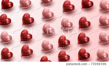 Happy Valentine's day background with heart balloon and present composition for banner, poster or greeting card. vector illustration 73096596