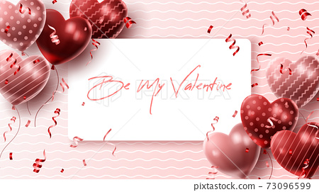 Happy Valentine's day background with heart balloon and present composition for banner, poster or greeting card. vector illustration 73096599