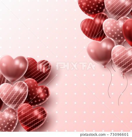 Happy Valentine's day background with heart balloon and present composition for banner, poster or greeting card. vector illustration 73096601