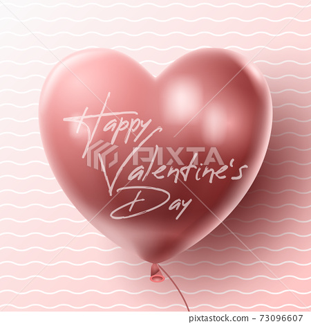 Happy Valentine's day background with heart balloon and present composition for banner, poster or greeting card. vector illustration 73096607