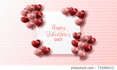 Happy Valentine's day background with heart balloon and present composition for banner, poster or greeting card. vector illustration 73096612