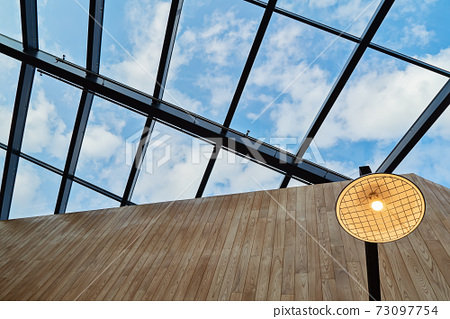 View of roof with glass open ceiling in Nordic style 73097754