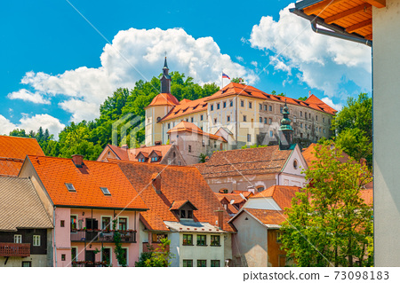 Picturesque cityscape of Skofja Loka, a small historic town in Slovenia 73098183