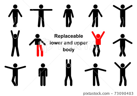 Standing front view stick figure man vector icon illustration set. Raised, wide open hands, crossed legs, replaceable lower and upper body parts creation constructor sign 73098483