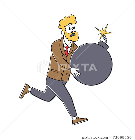 Shocked Businessman Character Running Holding Huge Bomb with Burning Fuse in Hands. Debt or Tax Burden, Finance Problems 73099550
