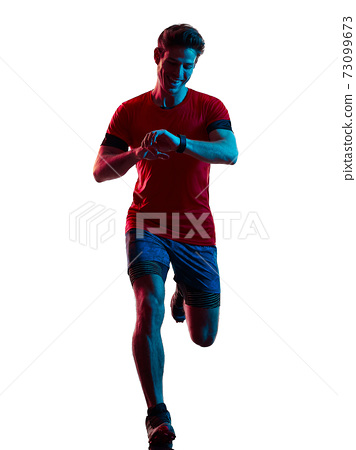 trail cross country runner running man silhouette shadow isolated white background 73099673