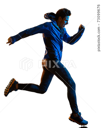 trail cross country runner running man silhouette shadow isolated white background 73099676