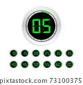 Set of timers. Sign icon. Full rotation arrow timer. Colored flat icons. Set of 12 timer icons 73100375