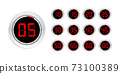 Set of timers. Sign icon. Full rotation arrow timer. Colored flat icons. Set of 12 timer icons 73100389