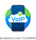 VoIP technology, voice over IP. Internet calling banner. Vector illustration. 73100404