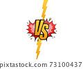 VS Versus Blue and red comic design. Battle banner match, vs letters competition confrontation. Vector illustration. 73100437
