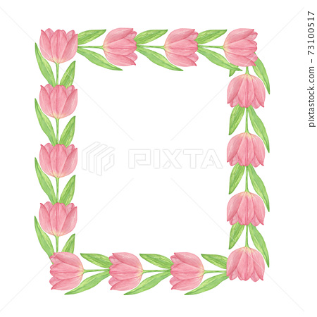 Pink tulip flower rectangular frame simple floral watercolor illustration for St Valentine, Easter, spring holidays, Mother's day decor, greeting cards, invitations 73100517