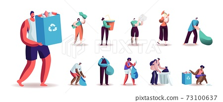 Set of Male and Female Characters Collecting Trash for Recycling. Men and Women Volunteers Clean Up Wastes into Bags 73100637