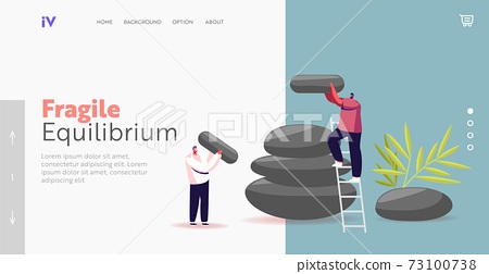 Feng Shui Oriental Philosophy or Culture Landing Page Template. Life Harmony. Tiny Male Characters Assemble Stones Pile 73100738