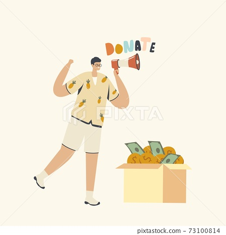 Donation, Charity Concept. Volunteer Male Character Yell to Megaphone Call to Collect Money for Fundraising Purposes 73100814