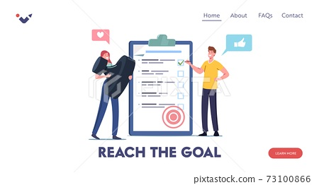 Task Completed Landing Page Template. Tiny Male Female Characters with Stamp Stand at Checklist Put Marks in Check Boxes 73100866