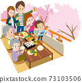 一個三代家庭,看著陽台上的花 73103506
