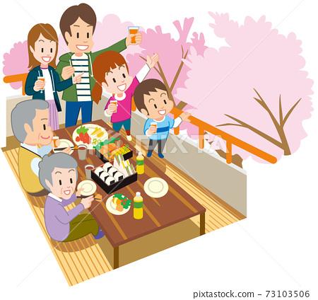 베란다에서 꽃 구경을하는 3 세대 가족 73103506