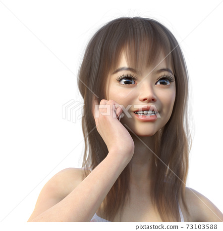 Female up facial expression perming 3DCG illustration material 73103588