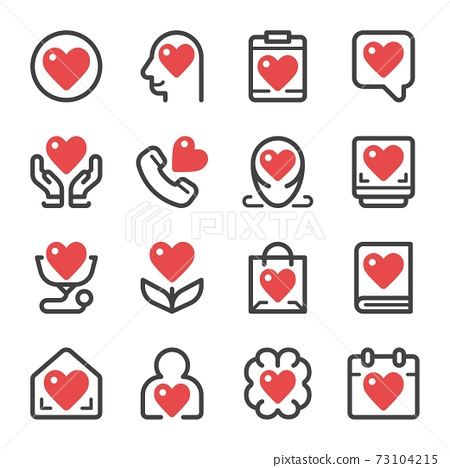 heart icon set 73104215