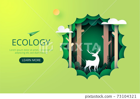 Paper art of green ecology.Protection wildlife and nature for environment conservation concept landing page website template background. 73104321