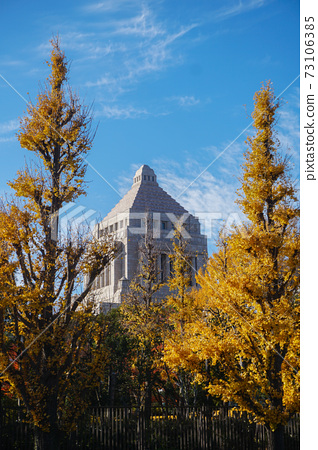 Autumn season covered National Diet Building in Tokyo, Japan. Japanese Parliament. 73106385