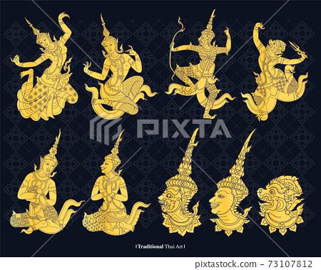 Line vector traditional Thailand  Art, vector illustration 73107812
