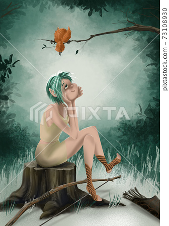 Fairytale character forest elf young cute girl sits on a stump in a clearing in the forest and enjoys relaxing in a magical forest. 73108930