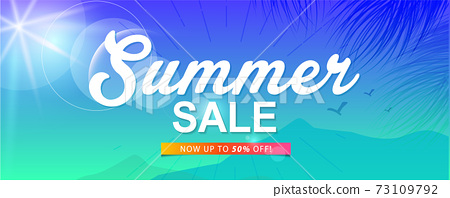 summer sale template banner or poster, sale and discounts. vector design. 73109792